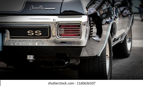 Ladner, British Columbia / Canada - August 19th 2018 - The Back of a Beautiful 1970 Chevy Chevelle at an Annual Car Show.