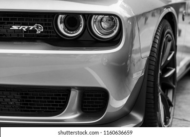 Ladner, British Columbia / Canada - August 19th 2018 - The Front Quarted of the Beautiful new Dodge Challenger at An Annual Car Show.