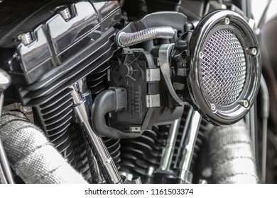 Ladner, British Columbia / Canada - August 19th 2018 - A Custom V-twin Bike Engine at an Annual Car Show.
