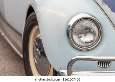 Ladner, British Columbia / Canada - August 19th 2018 - The Front End of an Old Classic VW Car at an Annual Car Show.