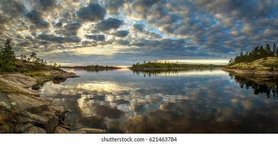 Ladoga lake. Karelia. Islands in Karelia. Rocky islands.