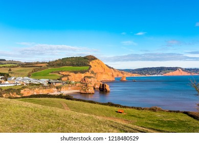 Ladram Bay and, in the distance, Sidmouth and Salcombe Hill Cliff,  Devon,UK.