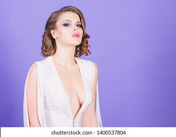 Lady attractive sexy model. Attractive decollete with breasts. Woman wear dress with deep decollete. Seductive decollete concept. Girl makeup and vintage hairstyle wear dress with decollete.