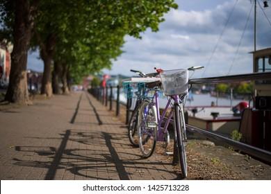 Lady Bikes (Bicycles) parked on the bristol dock, Bristol, England, UK