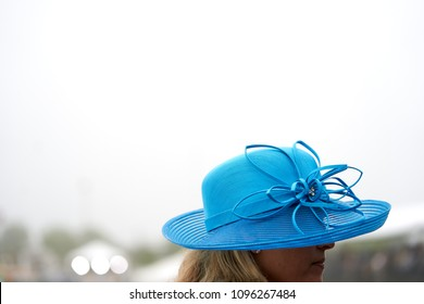 A lady in a blue hat at a horse race.