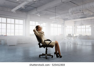 Lady boss in office chair . Mixed media