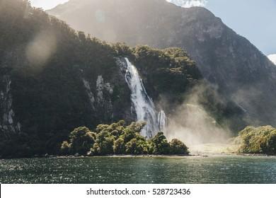 Lady Bowen Falls, Milford Sound, Fiordland national park, South Island, New Zealand.
