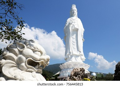 The Lady Buddha Statue (the Bodhisattva of Mercy) at the Linh Ung Pagoda in Danang (Da Nang) Vietnam.