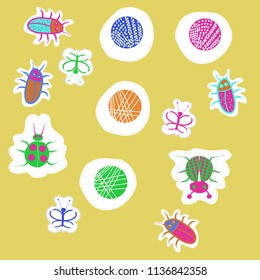 Lady bugs, beetles, butterflies,abstract shapes, doodles,dotted lines, labels pattern. Hand drawn.
