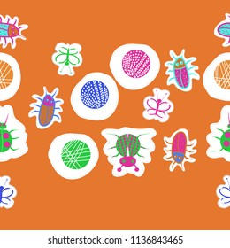 Lady bugs, beetles, butterflies,abstract shapes, doodles,dotted lines, labels seamless pattern. Hand drawn.