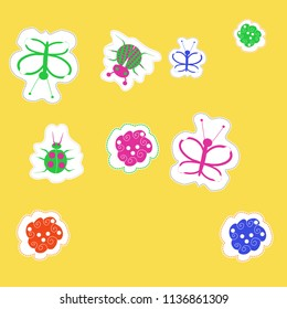 Lady bugs,spirals, butterflies, doodles,dotted lines, labels pattern. Hand drawn.