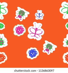 Lady bugs,spirals, butterflies, doodles,dotted lines, labels seamless  pattern. Hand drawn.