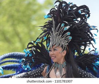 Lady dancing in Samba festival at Kobe city, Hyogo Prefecture, Japan on 20/May/2018