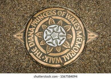 Lady Diana Princess of Wales Memorial Walk marker, London, England