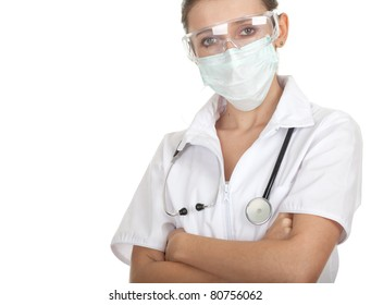 lady doctor in protective glasses and mask, white uniform, with stethoscope