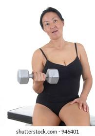 Lady exercising with weights