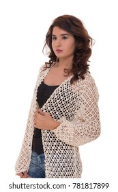 Lady in fashionable Crochet shrug and jeans short