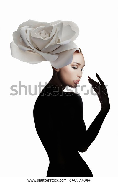 lady flower.nude beautiful woman with flower on her head.fashion art photo of perfect body model girl silhouette