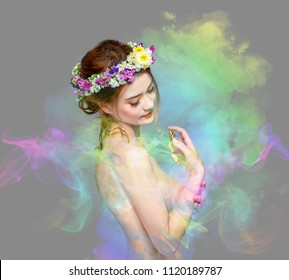 The Lady of Flowers is Half Blood Caucasian and Asian. She is fascinated with the smell of colorful perfume. She was spraying perfume on her body until fume drifted around her. Vivid Color style.