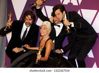 Lady Gaga, Andrew Wyatt, Anthony Rossomando and Mark Ronson at the 91st Annual Academy Awards - Press Room held at the Hollywood and Highland in Los Angeles, USA on February 24, 2019.
