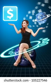 Lady in globe and Money icon from app world : Elements of this image furnished by NASA