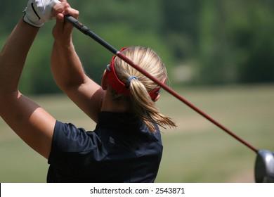 lady golf swing in stockbridge, GA