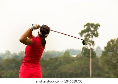 Lady golfer are finished golf swing, ladies golfer, golf swing.