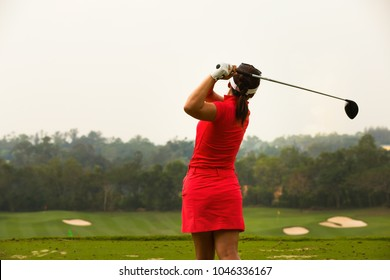 Lady golfer are finished golf swing, ladies golfer, golfing, golf swing.