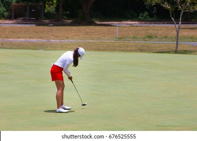 Lady golfer are putting golf on green.