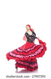 Lady in Gypsy costume dancing flamenco