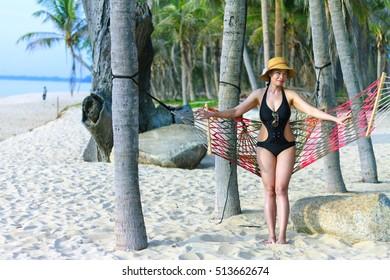 Lady happy sunshine in Ban Krut Beach, at Prachuap Khirikhun Province Thailand