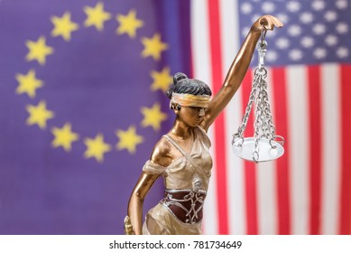 Lady of justice against flag of europe and usa