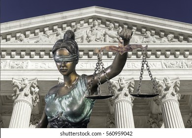 Lady justice against The Supreme court of U.S.