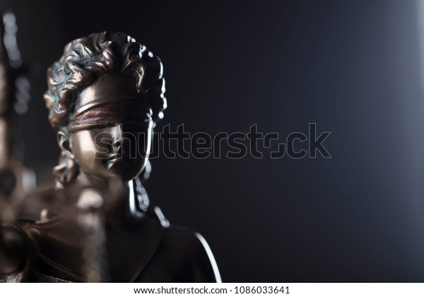 Lady justice compositions. Place for text. Bokeh background.