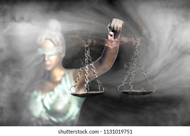 Lady Justice holding a decaying scale of justice (Symbol of injustice)