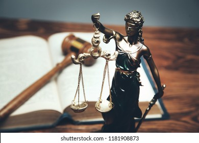 Lady Justice, law library concept