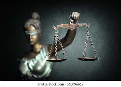 Lady Justice on emerald background