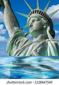 Lady Liberty sinking in a world of change.