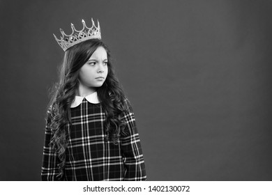 Lady little princess. Girl wear crown red background. Monarch family concept. Princess manners. Monarch attribute. Kid wear golden crown symbol of princess. Every girl dreaming to become princess.