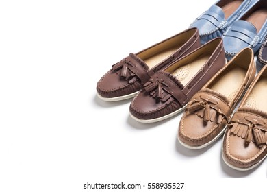 Lady Loafer Shoes, on white background, copy space