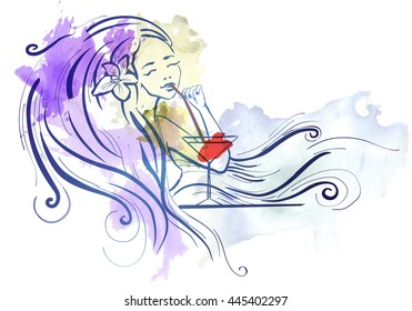 Lady long hair with cocktail dreaming image watercolor