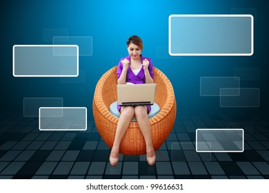 Lady on arm chair and windows icon