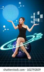 Lady on globe and Carbon nano ball present : Elements of this image furnished by NASA
