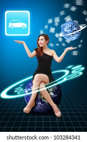 Lady on globe hold the car icon from app world : Elements of this image furnished by NASA