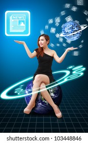 Lady on globe hold News icon and app world : Elements of this image furnished by NASA