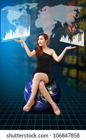 Lady on globe and stock exchange graph : Elements of this image furnished by NASA