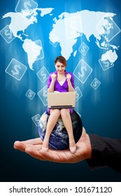 Lady on the hand and money icon on world map background : Elements of this image furnished by NASA