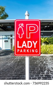 Lady Parking sign in parking lot - lady priority concept