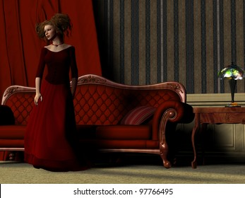 Lady in Red - A beautiful women poses in a red dress in room full of luxury Victorian furniture.