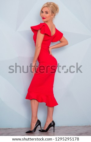 25ae91974f26 Lady in red classical fashionable midi dress, woman elegant fashion ,  Portrait of elegantly dressed